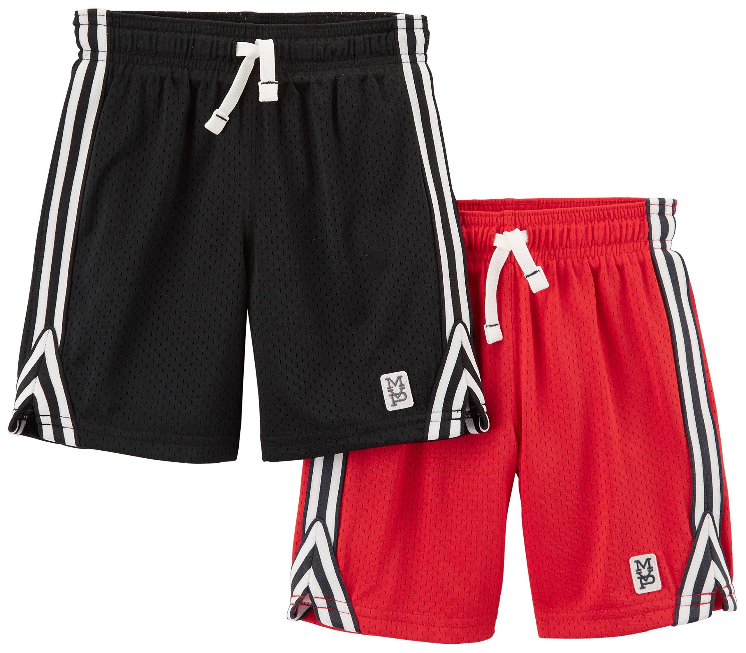 Carter's Boys' Toddler 2-Pack Mesh Short, Red/Black, 3T