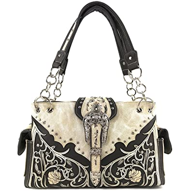 1bc8f84f3aec Justin West Western Concealed Carry Silver Buckle Hand Embroidered Flower  Leather Vines   Leaves Shoulder Handbag