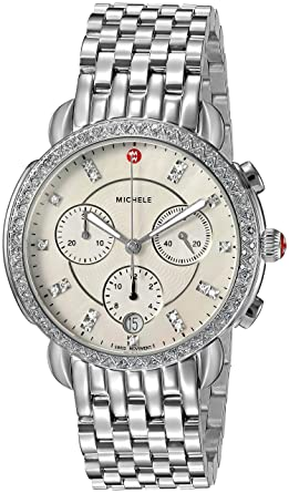 95036e537 Michele Sidney One Hundred Seventeen Diamonds Swiss Chronograph Mother of  Pearl Dial Silver Tone Women's Watch