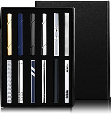Milacolato 12 Piezas Tie Clips Set for Men Tie Bar Clip Set para ...