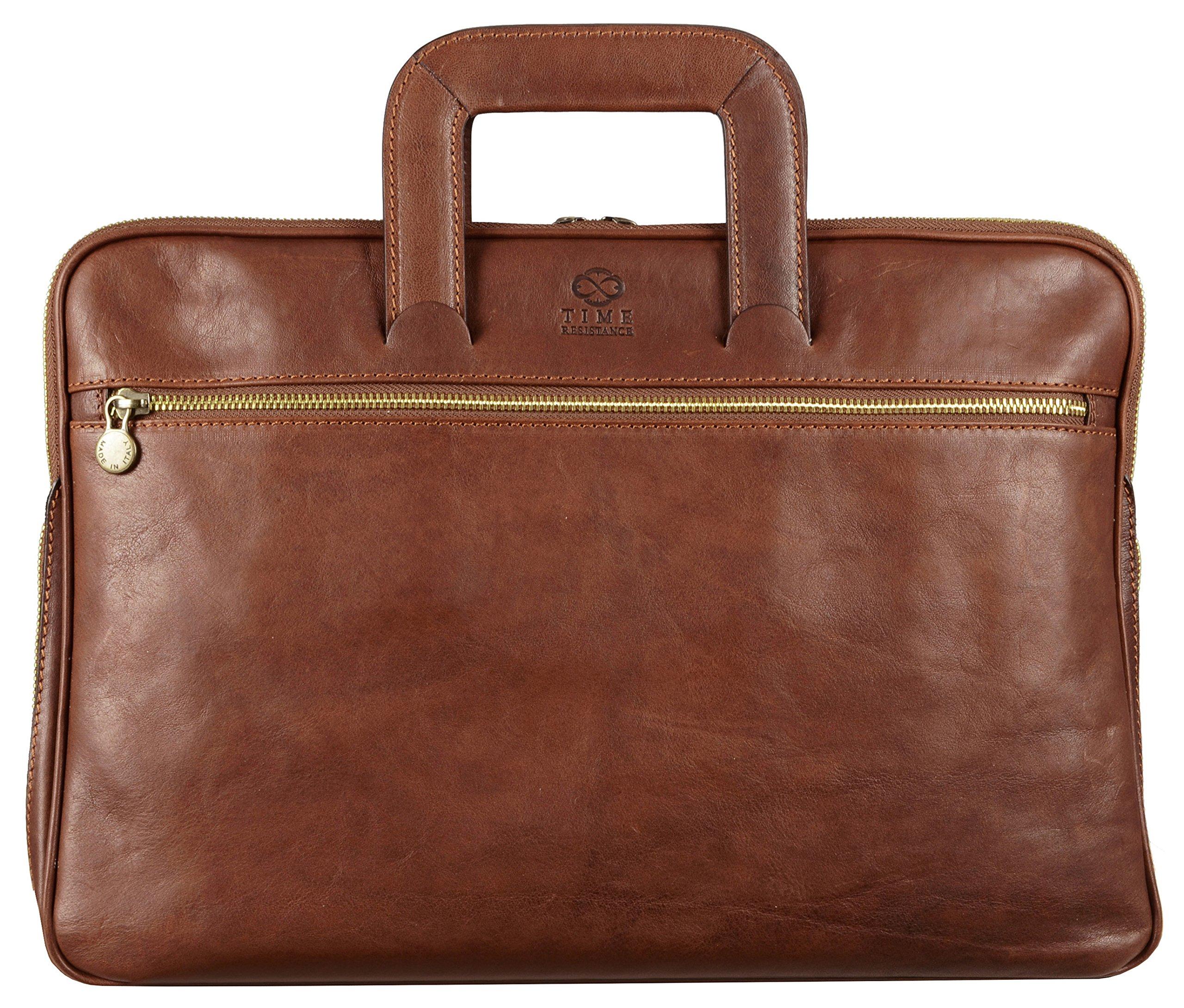Brown Genuine Leather Briefcase Laptop Messenger Bag Unisex Medium Brown - Time Resistance