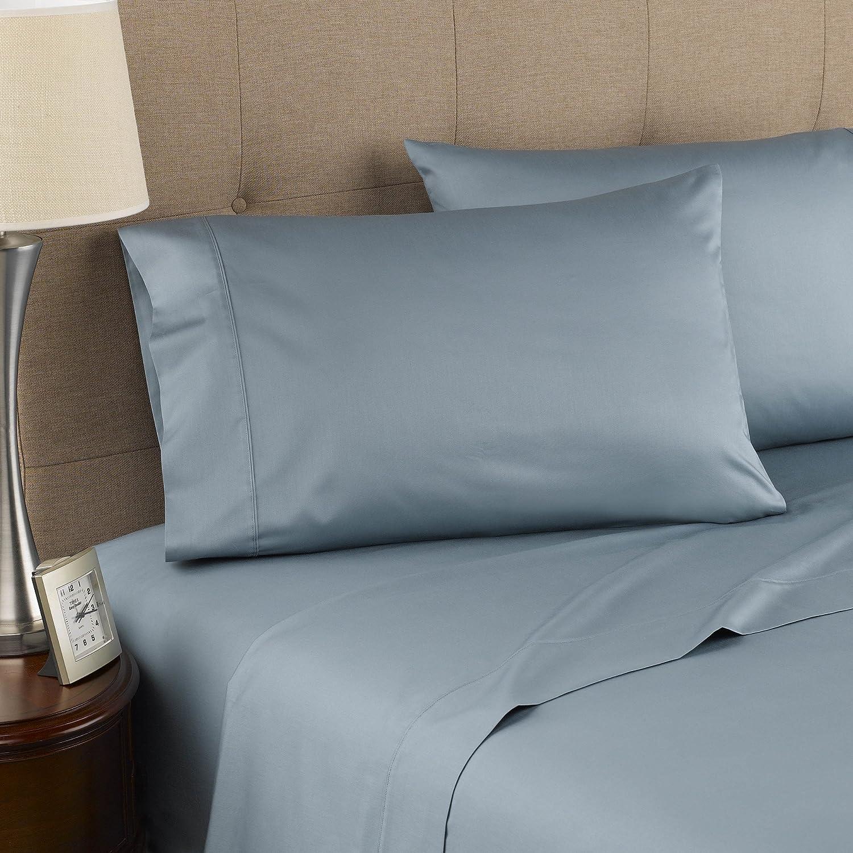 Amazon Com Modern Living 300 Thread Count Certified Organic Cotton Queen Blue Mist Sheet Set Home Kitchen