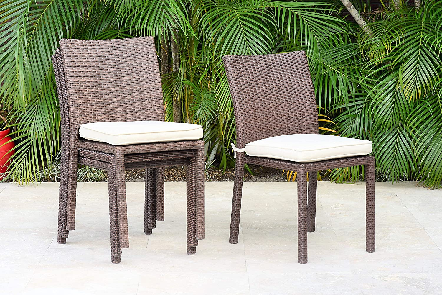 Atlantic Patio Liberty 4 Piece Patio Stackable Chairs Set Wicker Ideal For Outdoors And Indoors 25lx20wx36h Patio Dining Chairs Garden Outdoor Amazon Com