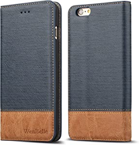 """for iPhone 6/6s 4.7"""" Case,WenBelle Blazers Series,Stand Feature,Double Layer Shock Absorbing Premium Soft PU Color Matching Leather Wallet Cover Flip Cases for Apple iPhone 6 6s 4.7 inch Classic Blue"""