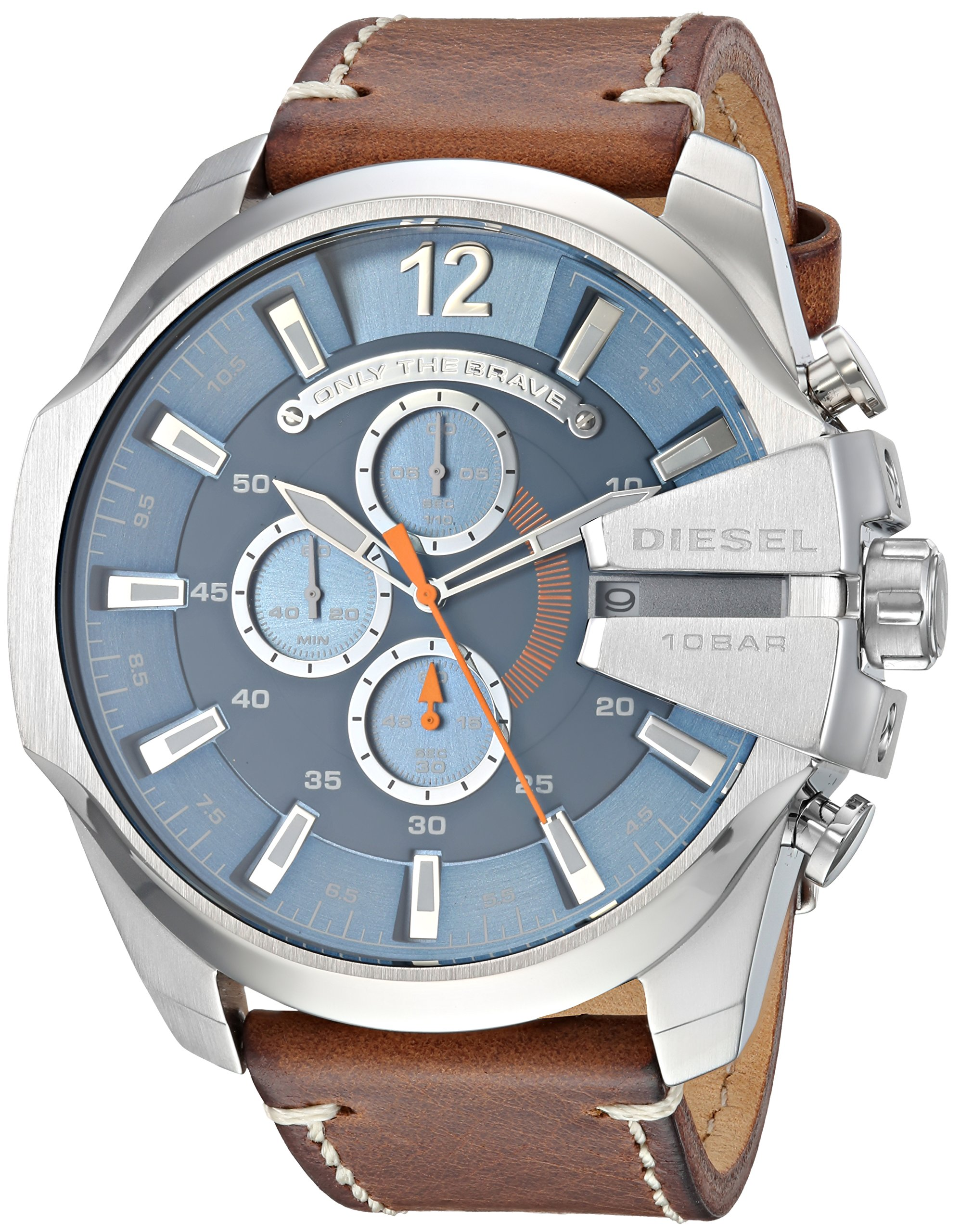Diesel Men's Mega Chief Stainless Steel Japanese-Quartz Watch with Leather Calfskin Strap, Brown, 26 (Model: DZ4458) by Diesel