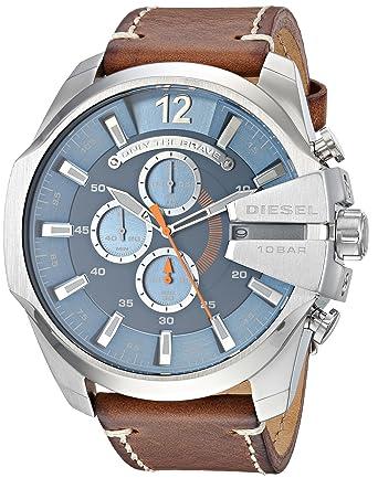 12b97cf04 Diesel Men's Mega Chief Stainless Steel Japanese-Quartz Watch with Leather  Calfskin Strap, Brown