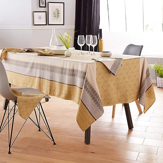Mantel rectangular de 150 x 300 cm, jacquard 100% algodón + revestimiento acrílico Charleston, color amarillo mostaza: Amazon.es: Hogar