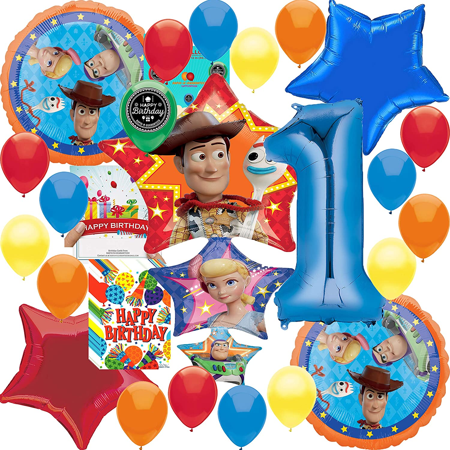 Amazon Com Toy Story 4 Party Supplies Balloon Decoration Deluxe Bundle With Birthday Card And Happy Birthday Treat Bags 1st Birthday Toys Games