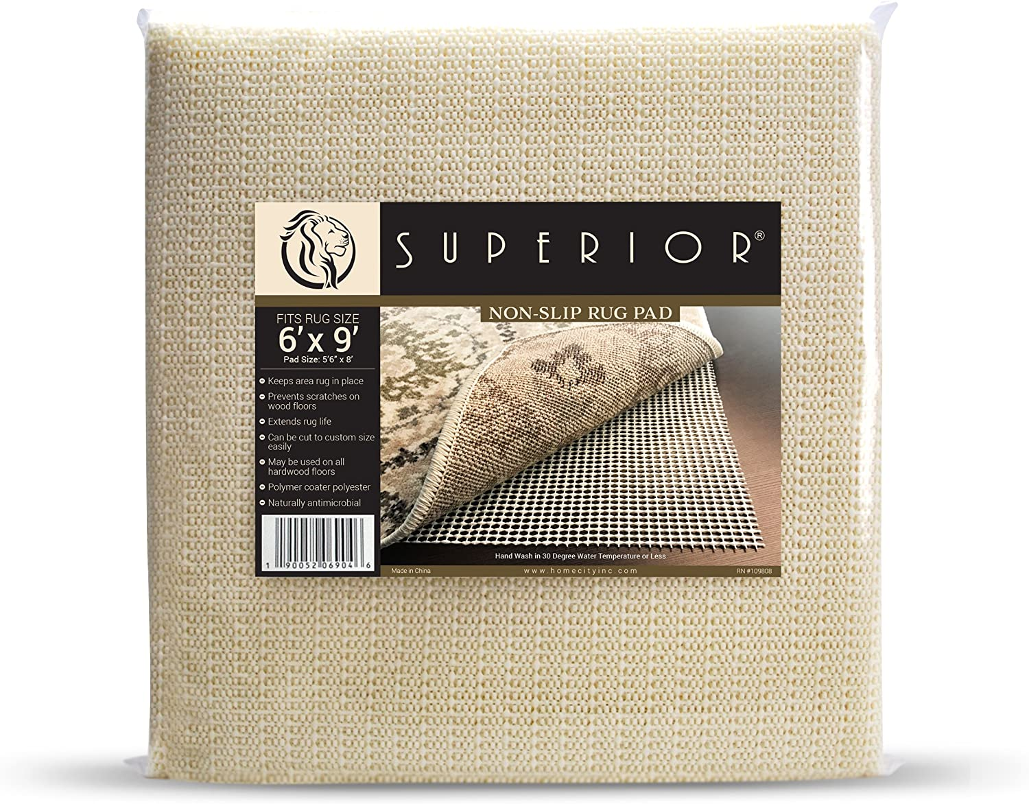 Superior Light-Weight Strong Grip Textured Rubber, Slip-Resistant Reversible Beige Hard Floor Surface and Under Rug Protection Area Rug Pad, 6' x 9'