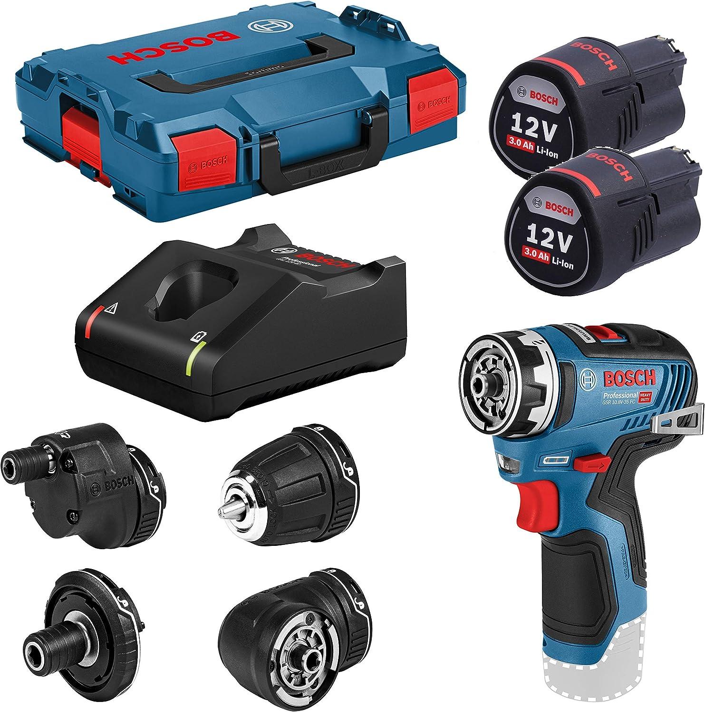 Bosch Professional GSR 12V-35 FC - Atornillador a batería (2 baterías x 3.0 Ah, 12V, 35 Nm, 4 cabezales FlexiClick, en L-BOXX)