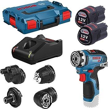 Bosch Professional GSR 12V-35 FC - Atornillador a batería (2 baterías x 3.0 Ah, 12V, 35 Nm, 4 c...