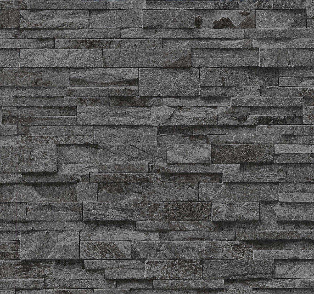 Steintapete Vlies Grau Schwarz | schöne edle Tapete im Steinmauer ...