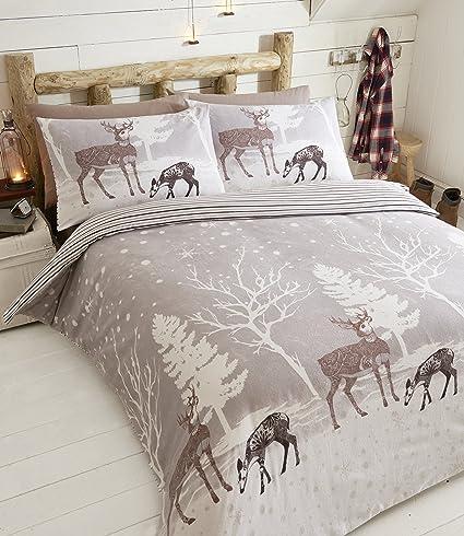 Brushed Cotton Flannelette Duvet Cover Sets Winter Stag Forest