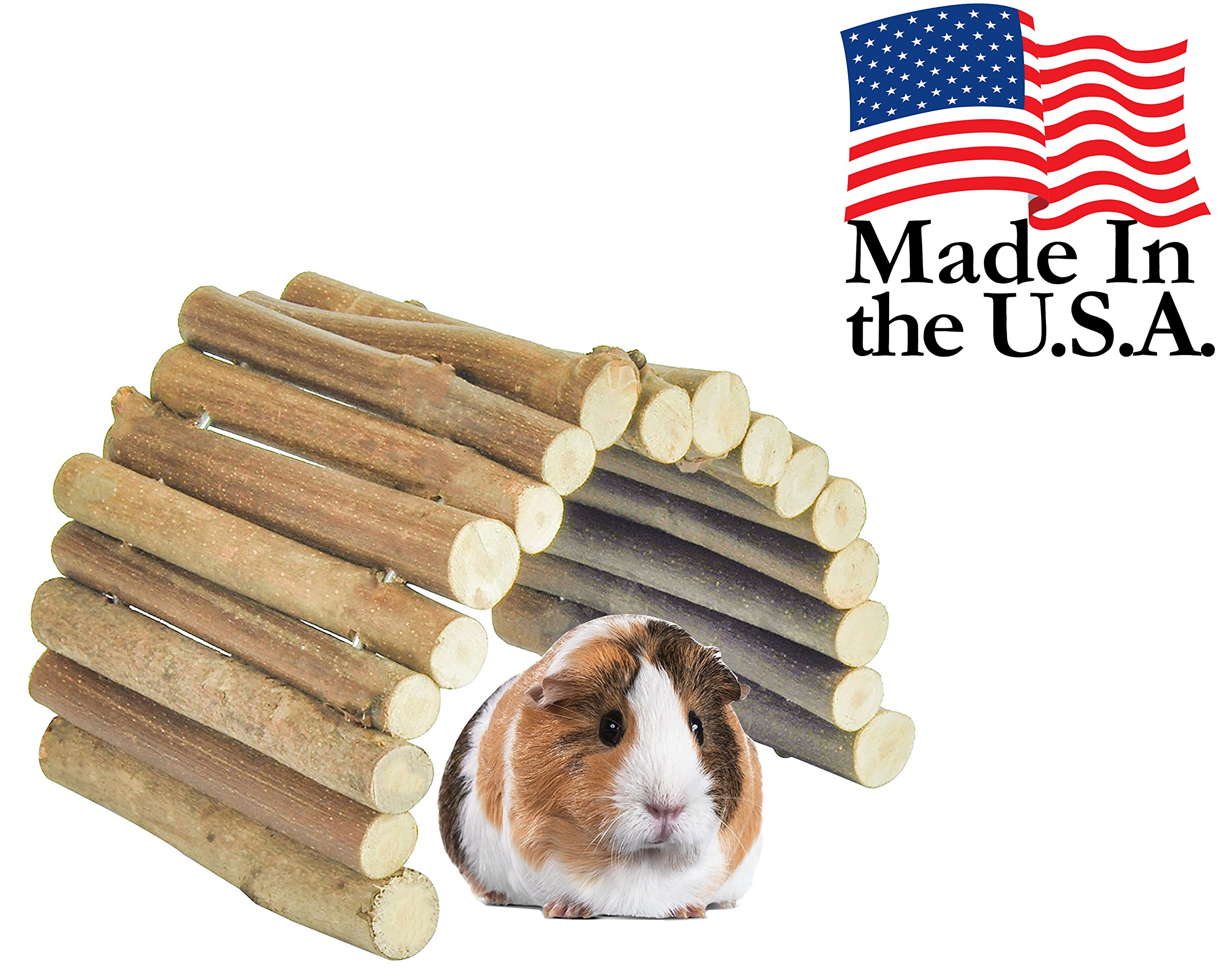 Flexible All Natural Wood Bridge - 14 x 9 Inches - Extra Large - Tunnel and Hideout for Guinea Pigs, Ferrets, Chinchillas and Other Small Animals by Cuteepets