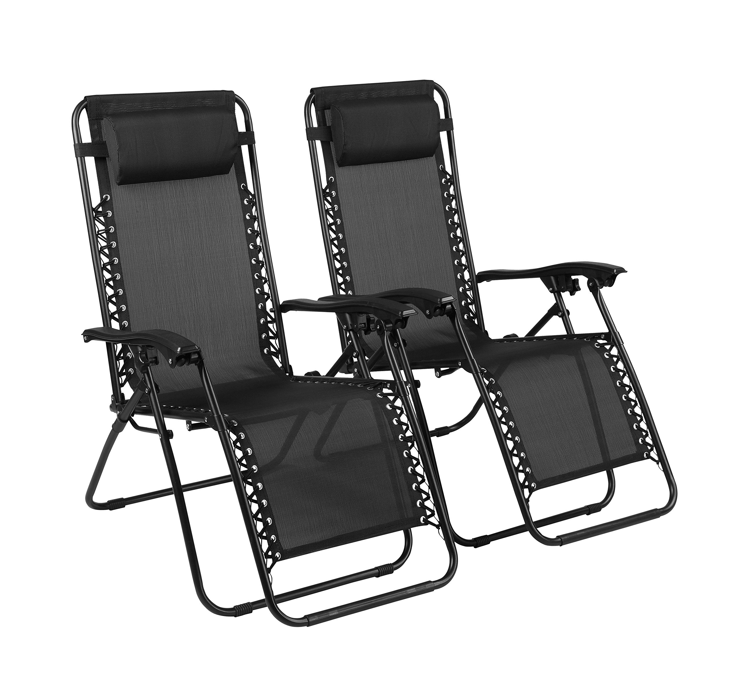 Naomi Home Zero Gravity Lounge Patio Outdoor Recliner Chairs Black/Set of 2 by Naomi Home