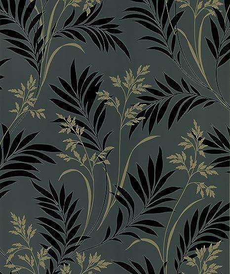 White 20.5-Inch by 396-Inch Brewster 426-6291 Ink Black White Neutral Grass Wallpaper