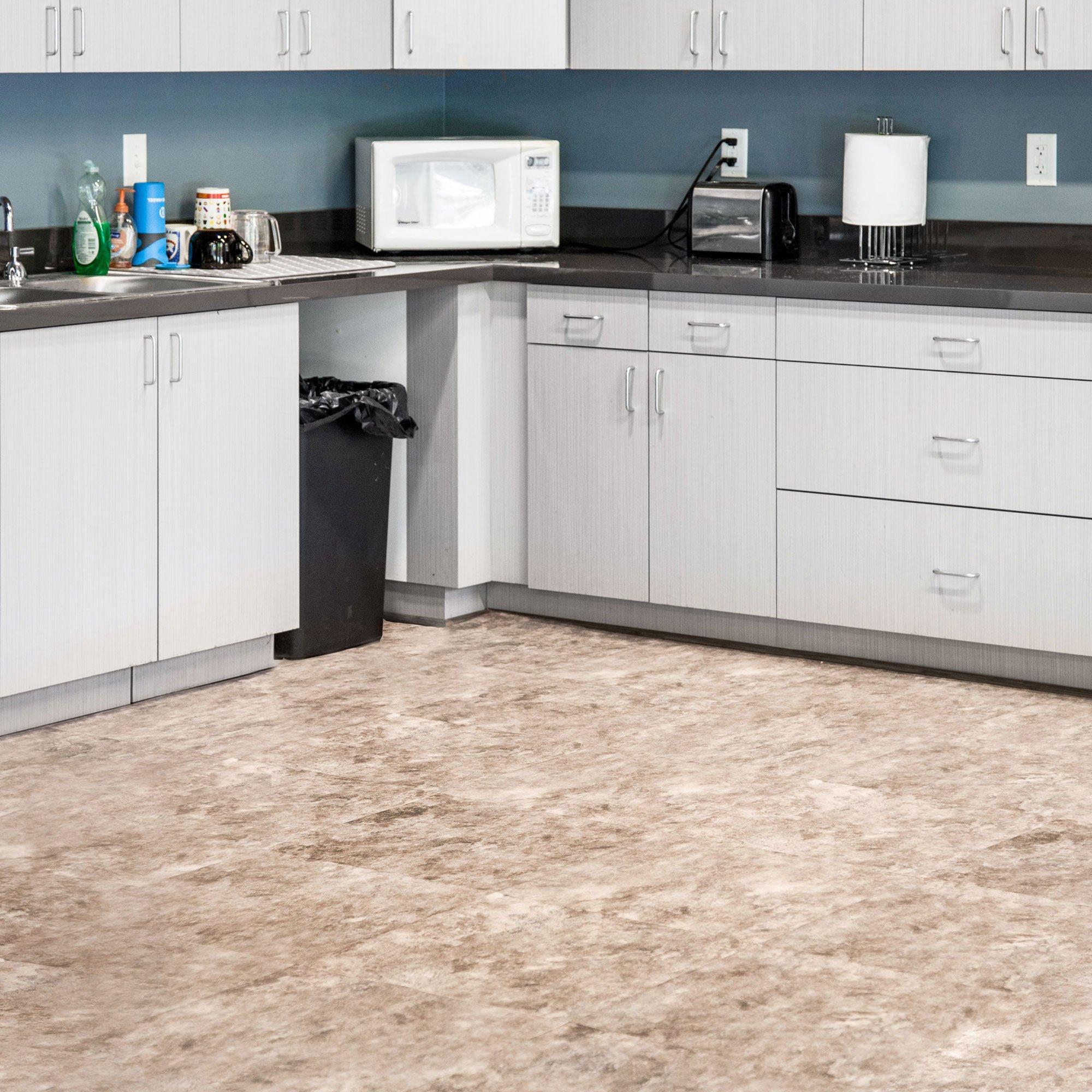IncStores Stone Flex Designer Tiles PVC With Luxury Vinyl Top Multi-Purpose Flooring 20''x20'' 6 Tile Pack Covers 16.67 sqft (Sandstone Granite)