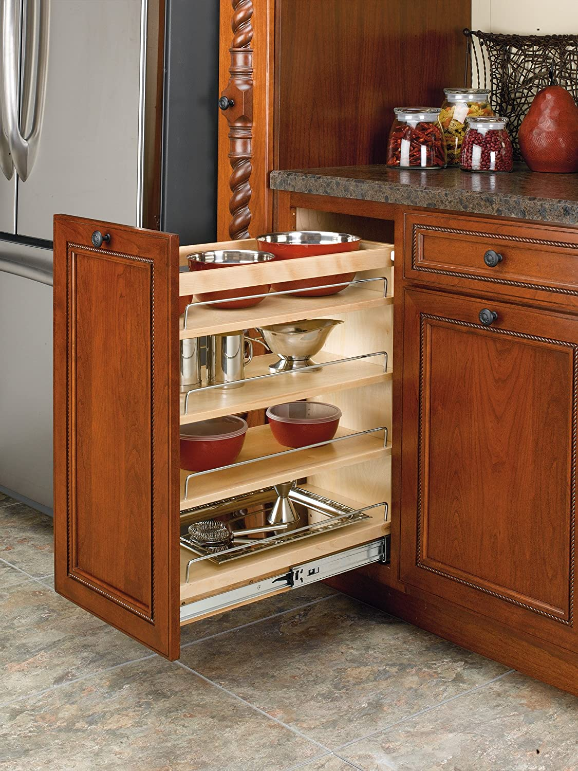 Kitchen Base Cabinet Pull Outs Part - 40: Amazon.com: Rev-A-Shelf - 448-BC-11C - 11 In. Pull-Out Wood Base Cabinet  Organizer: Home U0026 Kitchen