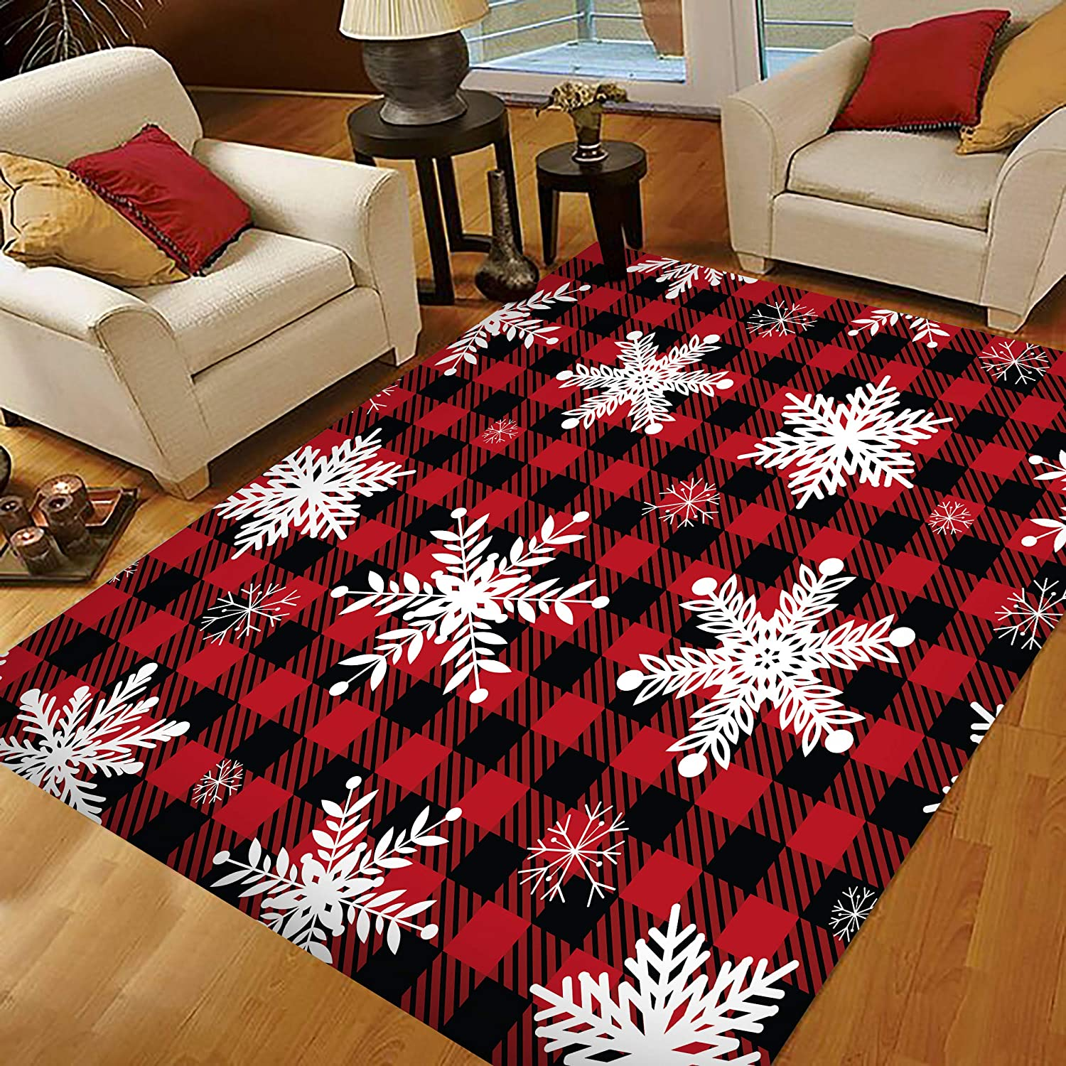 Amazon Com Christmas Area Rugs Area Rugs For Living Room Bedroom Small Area Rugs 2x3 Snowflakes Red Black Buffalo Plaid Kitchen Dining