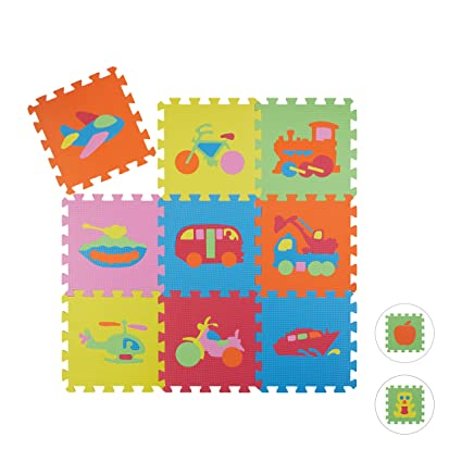 Relaxdays Alfombra Bebé Puzzle Vehículos, Goma EVA, 90 x 90 cm