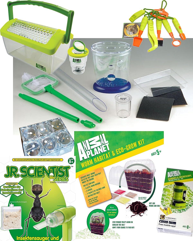 Riesiges Naturkunde Paket Experimente mit Insekten, Insektensauger, Werkzeug, Wurmset, Mikroskop, Lupendosen, Wasserbecken und Experimentiermateriallien
