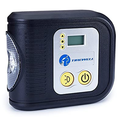 TIREWELL 12V Tire Inflator, Digital Portable Air Compressor, Auto Shut Off Tire Pump with LED Light and 3 Nozzles: Automotive
