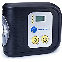 TIREWELL 12V Tire Inflator - Digital Metal Pump Portable Air Compressor with LED Light and 3 Adapters