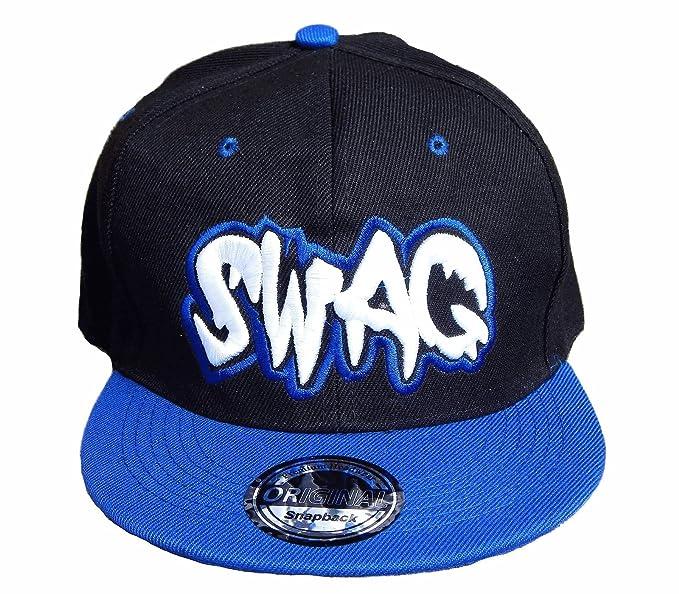 4f129bae8dfe5d Unbekannt BASECAP SWAG Logo Baseball SNAP BACK CAP Fittet Kappe Schirmmütze  (Schwarz Blau)