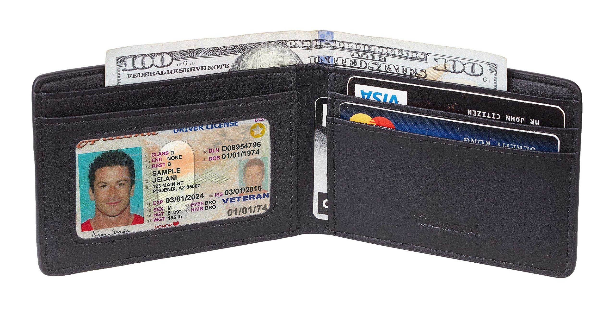 Casmonal Mens Leather Wallet Slim Front Pocket Wallet Billfold RFID Blocking (carbon fiber leather black) by Casmonal (Image #3)