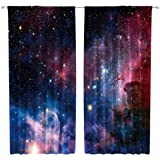 Riyidecor Outer Space Curtains Rod Pocket Galaxy (2 Panels 42 x 63 Inch) Universe Colorful Psychedelic Planet Nebula…