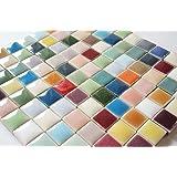 モザイクタイル 10㎜角 セラミック(陶器) 20色 カラフル かわいい マルチカラー ミックス クラフト ハンドメイド に (300g)