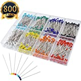 SUBANG 800pcs Sewing Pins 38mm Multicolor Glass Ball Head Pins For Dressmaking Jewelry Components Flower Decoration With Transparent Cases, 8 Colors