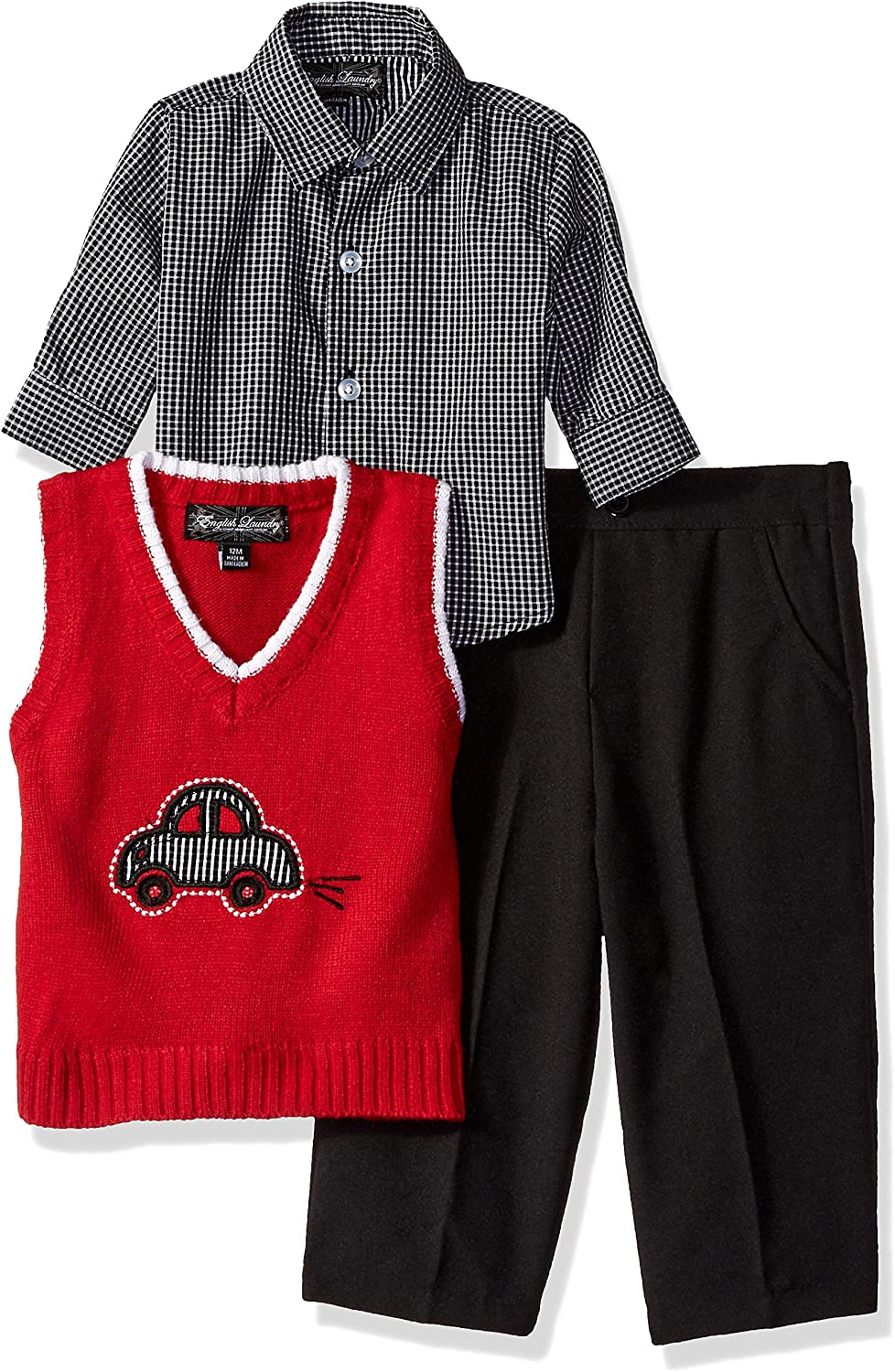 English Laundry Baby Boys 3 Piece Sweater Vest, Woven Sport Shirt and Pant