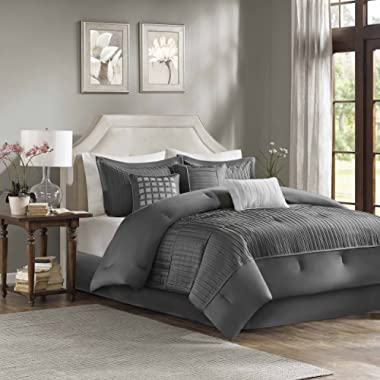 Madison Park Trinity Queen Size Bed Comforter Set Bed in A Bag - Grey, Pieced – 7 Pieces Bedding Sets – Ultra Soft Microfiber Bedroom Comforters