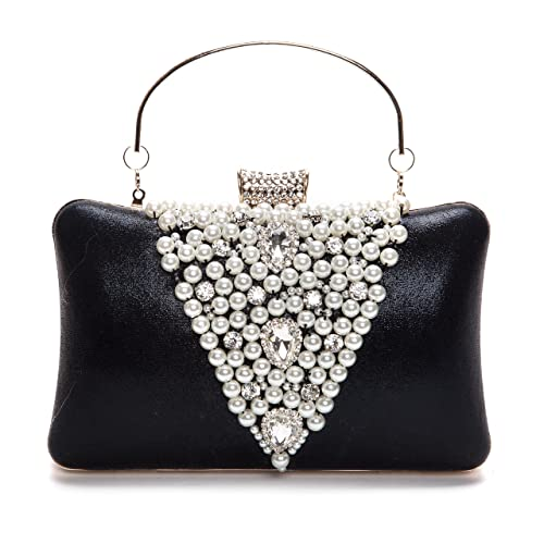 345d91e29bc7a Chichitop Elegant Rhinestones Hard Clutch Pearl Evening Bag with Zip  Compartments