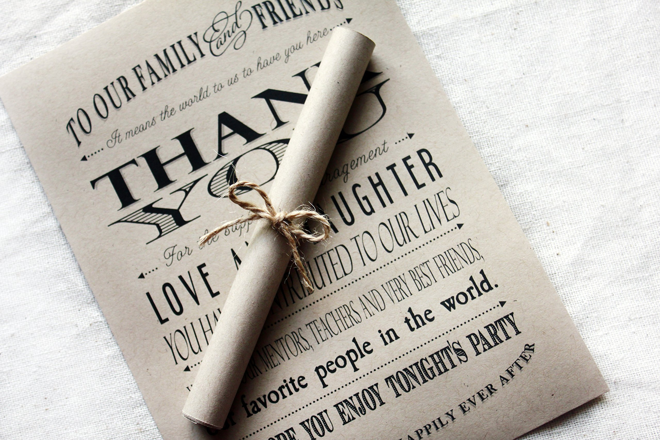 Rustic Wedding Thank You Scrolls set of 25 by SweetSights