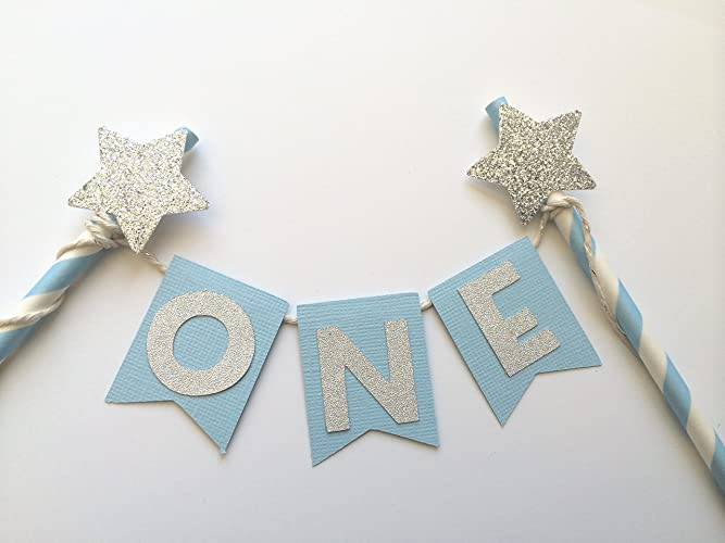 Amazoncom 1st Birthday Light Blue and Silver Star Cake Topper
