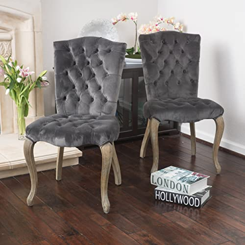 Christopher Knight Home Moira New Velvet Dining Chairs Set Of 2 , Charcoal