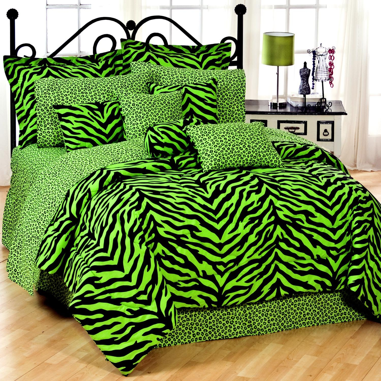 lime green zebra bedding