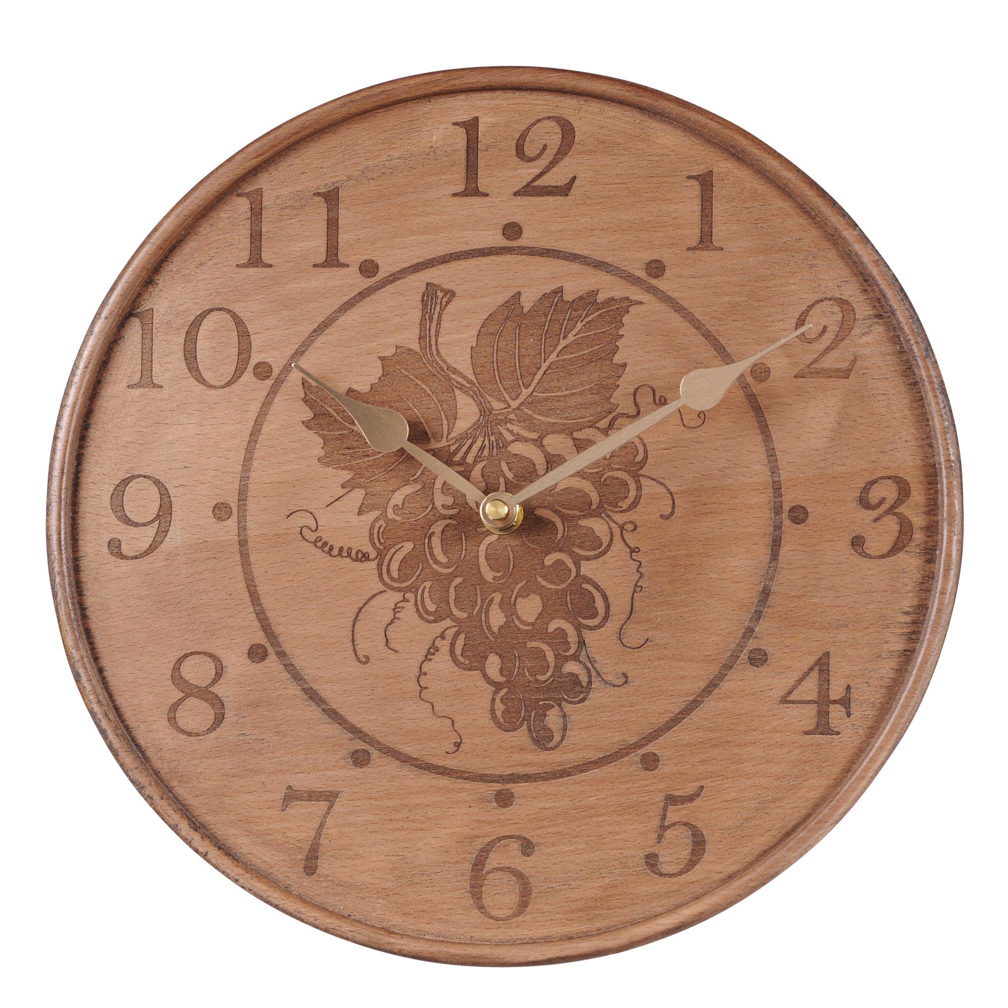 Grasslands Road 2-Pack In Vino Veritas Carved Grapes Wooden Clock, 11-Inch