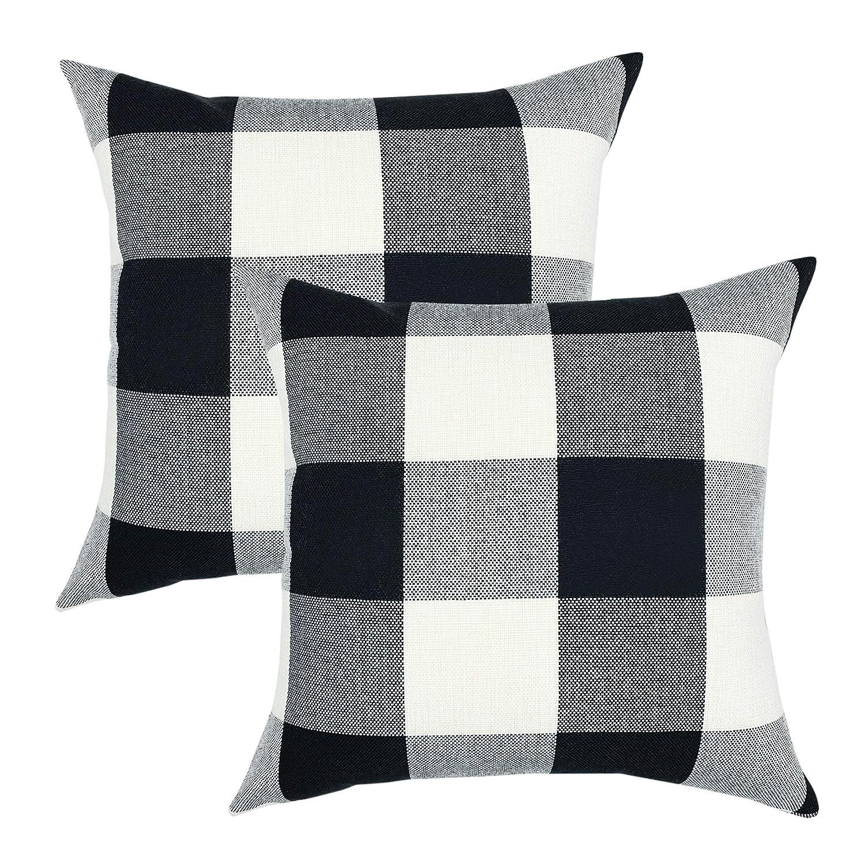 YOUR SMILE Retro Farmhouse Buffalo Tartan Chequer Plaid Cotton Linen  Decorative Throw Pillow Case Cushion Cover Pillowcase for Sofa 18 x 18  Inch, Set ...