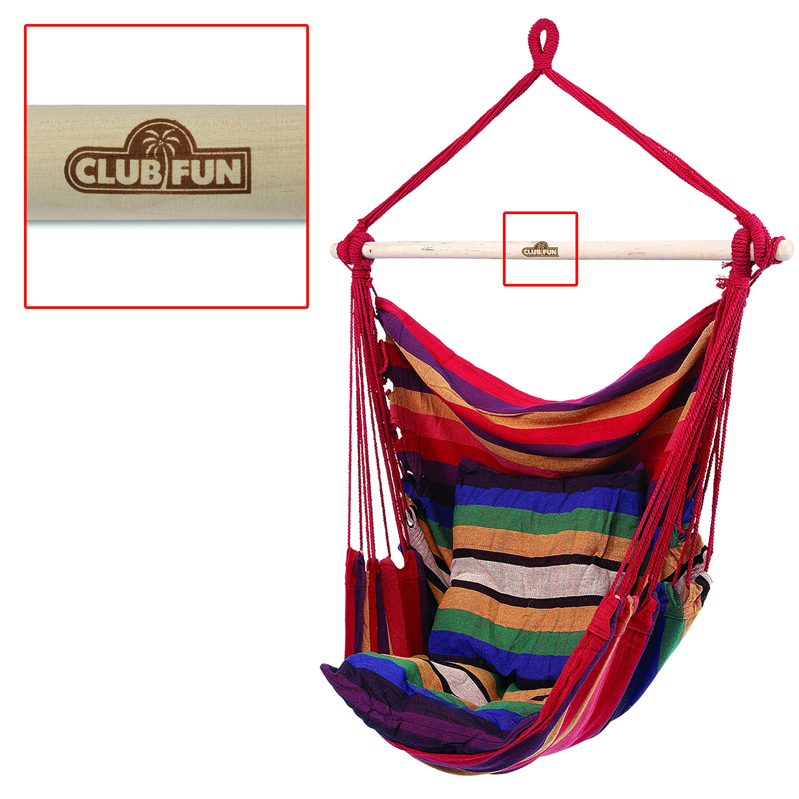 Club Fun The Original Hanging Hammock Rope Chair For Indoor Outdoor Kids and Adults 265 lbs Seating for Patio, Bedroom, Dorm, Porch, Tree In Red and Multi-Colored Stripes