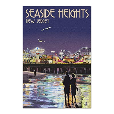 Seaside Heights, New Jersey - Pier at Night (Premium 1000 Piece Jigsaw Puzzle for Adults, 20x30, Made in USA!): Toys & Games