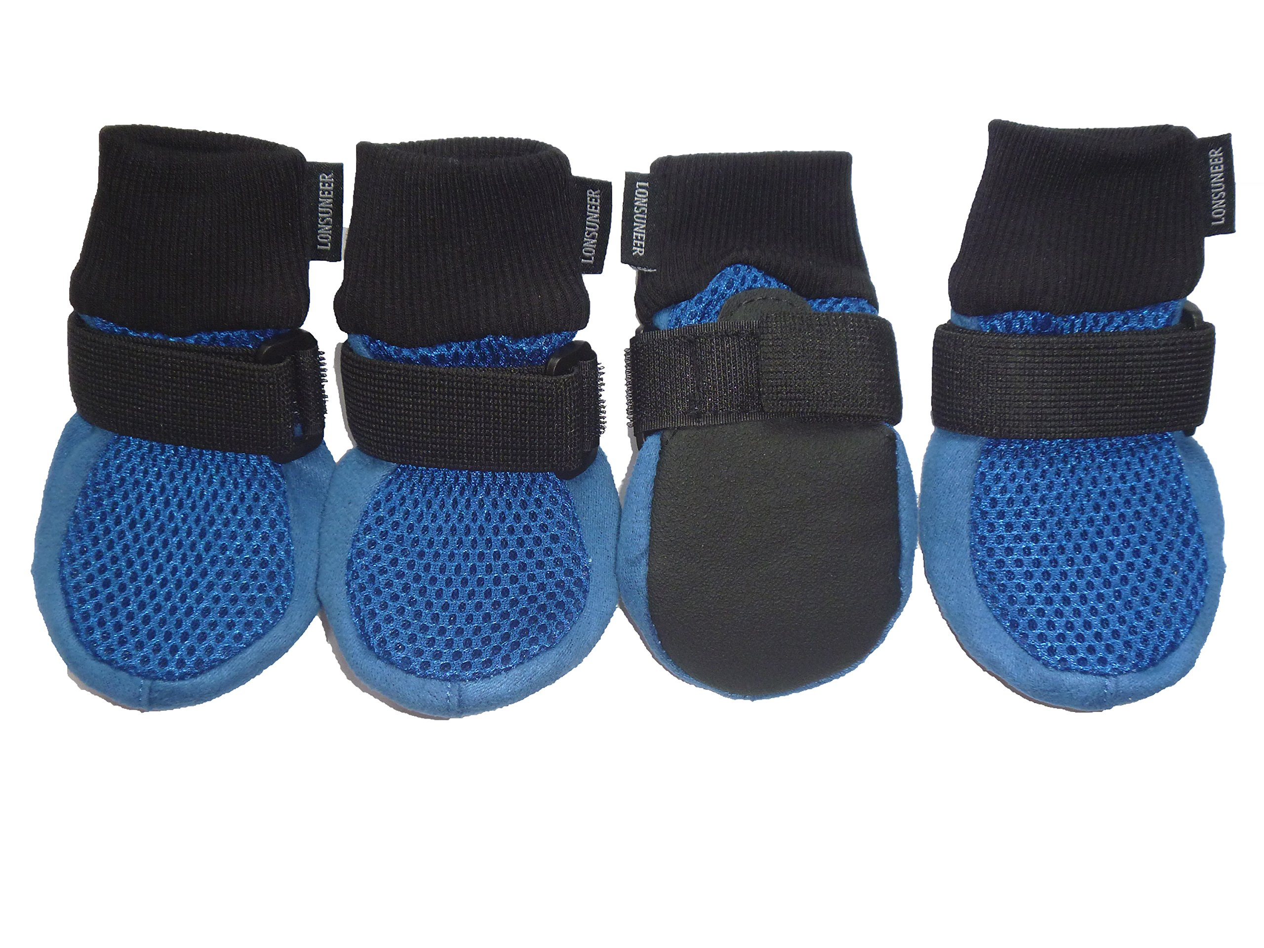 LONSUNEER Dog Boots Breathable and Protect Paws with Soft Nonslip Soles Blue Color Size Medium – Inner Sole Width 2.56 Inch