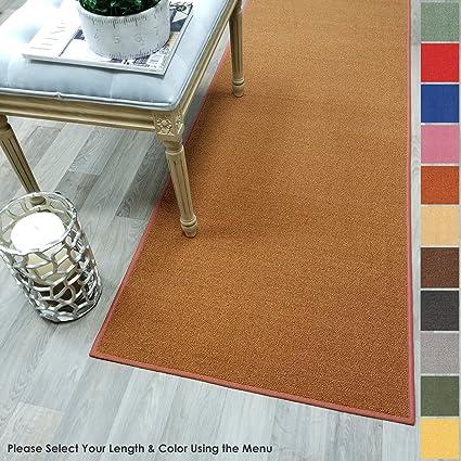c4019efdf3b Amazon.com  Custom Size Burnt-Orange Solid Plain Rubber Backed Non-Slip  Hallway Stair Runner Rug Carpet 22 inch Wide Choose Your Length 22in X 1ft   Kitchen ...