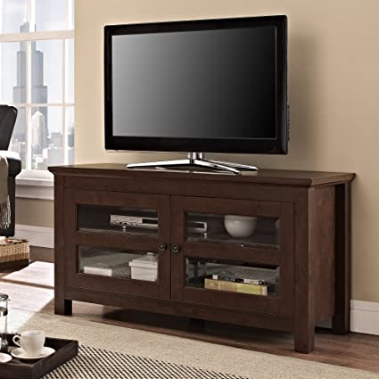 sports shoes 3e4f9 e3f8c Walker Edison 44-Inch Full-Door Wood TV Stand Console, Traditional Brown