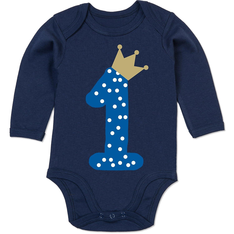 Shirtracer Geburtstag Baby - 1. Geburtstag Krone Junge Erster - Baby Body Langarm BZ30