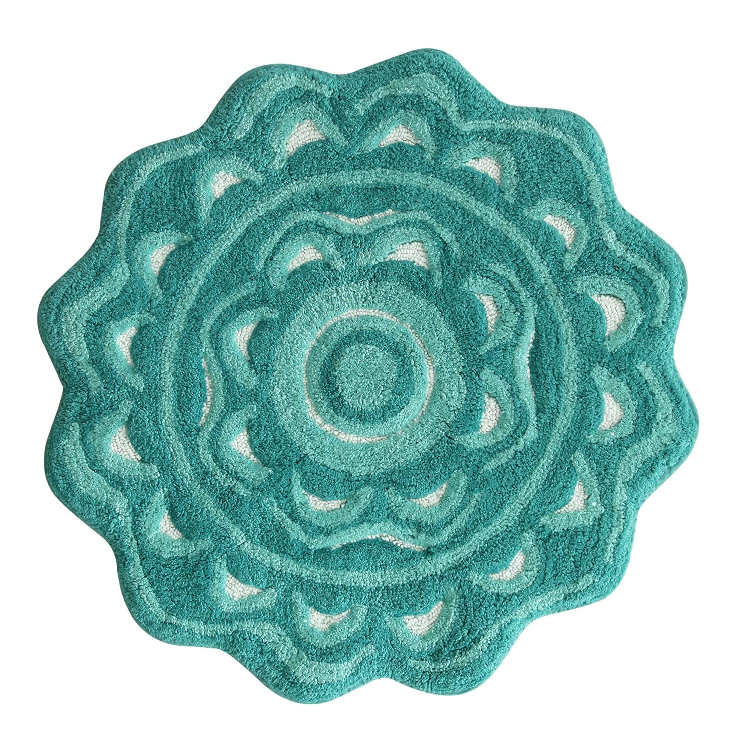 Aqua bathroom rugs - Amazon Com Jessica Simpson Medallion Bath Rug Aqua Sea Light Aqua Sea White Home Kitchen