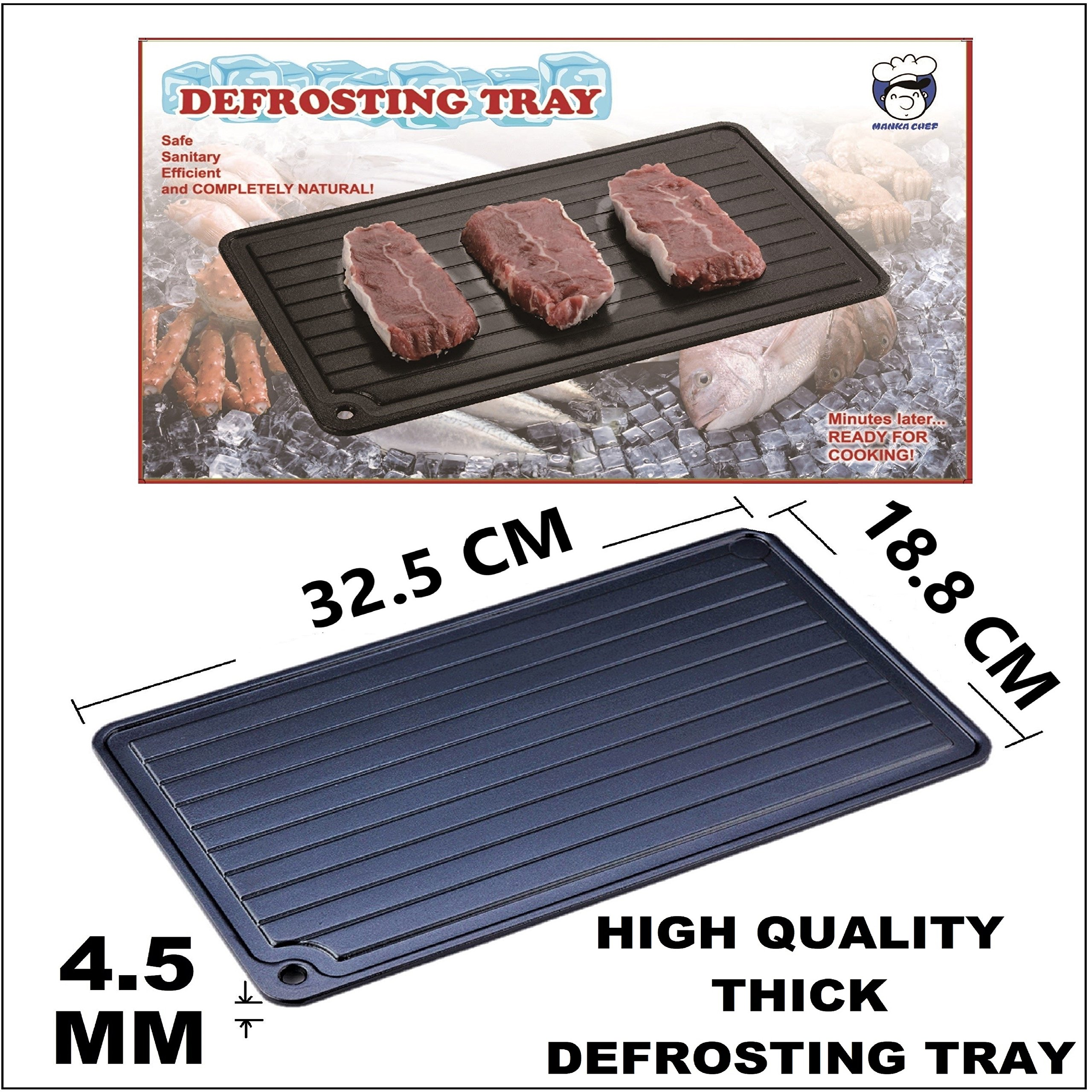 Defrosting Tray Aluminum Plate Fast Defrost Frozen Food Meats Steaks By Heat Transfer Thermal Conductivity Rapid Thawing Miracle Metal Thaw Speed Faster Than Natural Magic And Safest Way By Manka Chef by MANKA CHEF