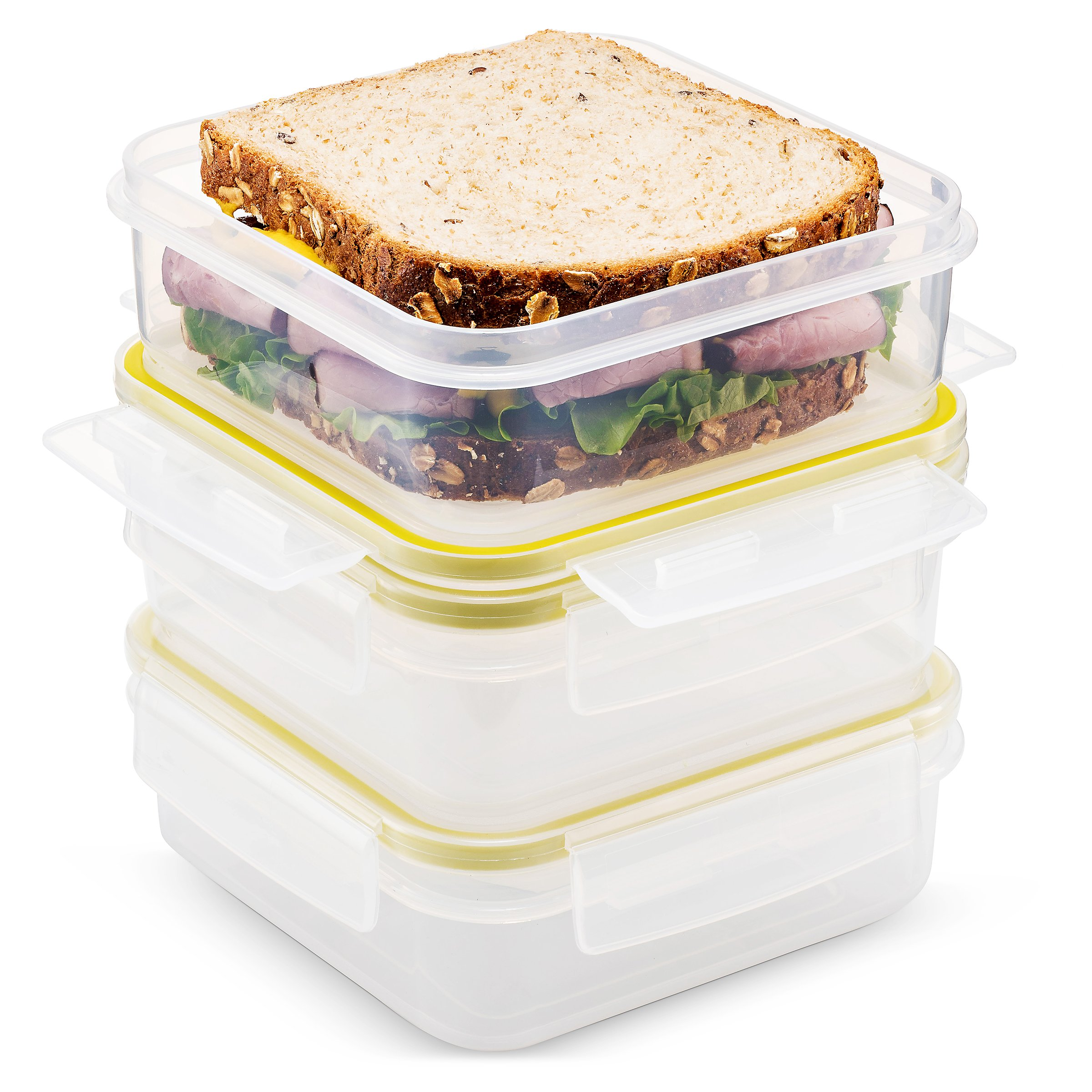 Komax Biokips Food Storage Sandwich Lunch Box Container 23oz. (set of 3) - Airtight, Leakproof With Locking Lids - BPA Free Plastic - Microwave, Freezer and Dishwasher Safe by Komax